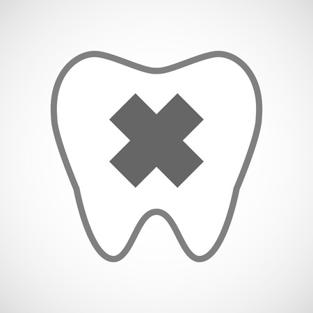 corrosive poison: Illustration of a line art tooth icon with an irritating substance sign