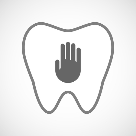 comunicacion oral: Illustration of a line art tooth icon with a hand
