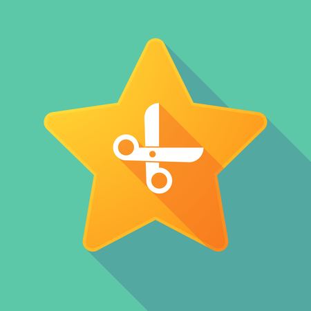 incentive: Illustration of a long shadow star with a scissors Illustration