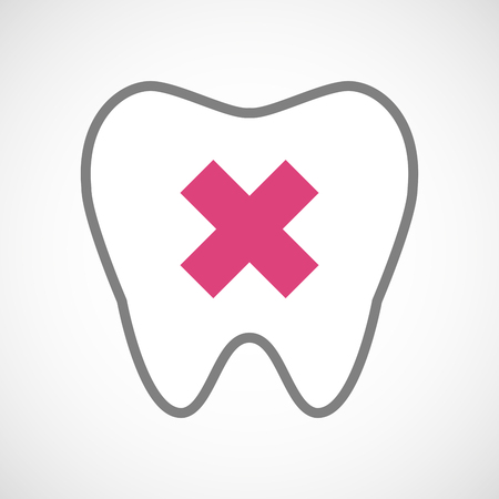 x marks: Illustration of a line art tooth icon with an x sign