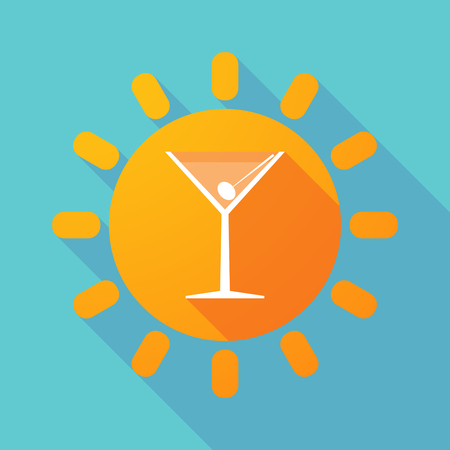 abstract liquor: Illustration of a long shadow sun with a cocktail glass