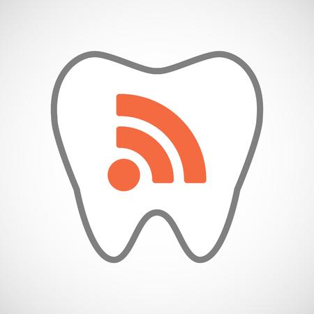 comunicacion oral: Ilustraci�n de un icono de la l�nea de arte del diente con un signo RSS