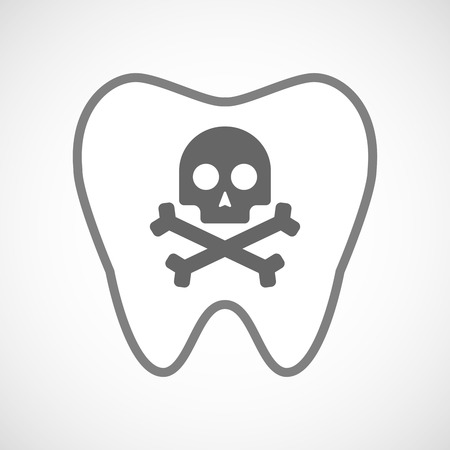 Illustration of a line art tooth icon with a skull