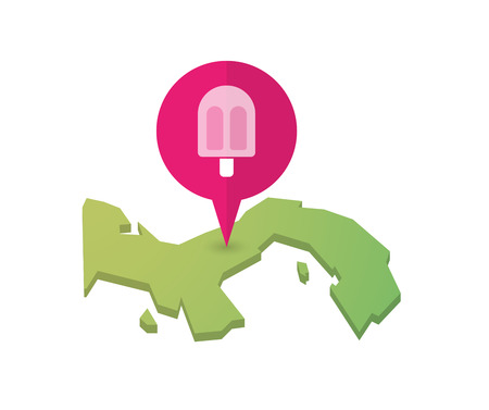 sorbet: Illustration of a map of Panama with a map marker and an ice cream