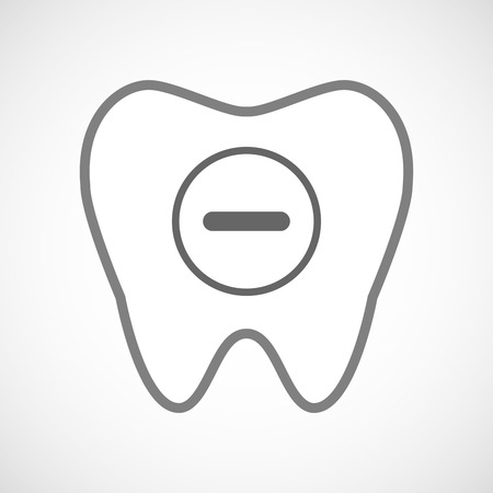subtraction: Illustration of a line art tooth icon with a subtraction sign
