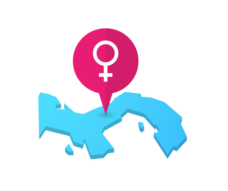 sex positions: Illustration of a map of Panama with a map marker and a female sign Illustration