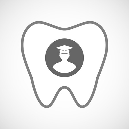 bachelor's: Illustration of a line art tooth icon with a student