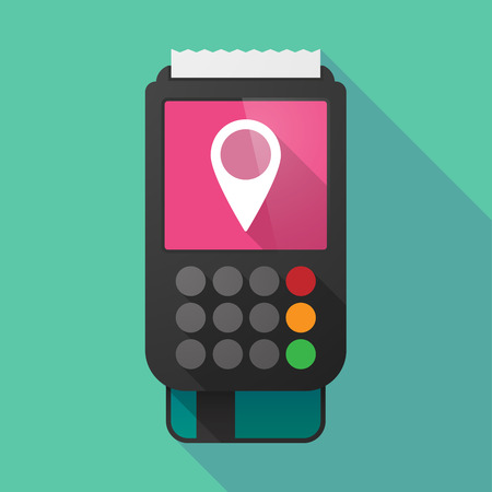 retail place: Illustration of a long shadow dataphone with a map mark