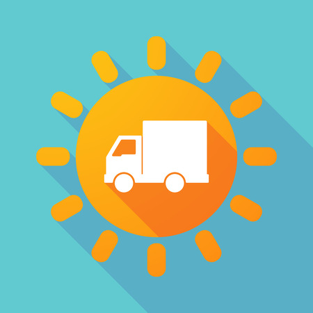 vehicle icon: Illustration of a long shadow sun with a  delivery truck