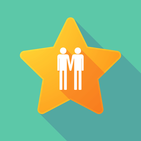gay couple: Illustration of a long shadow star with a gay couple pictogram