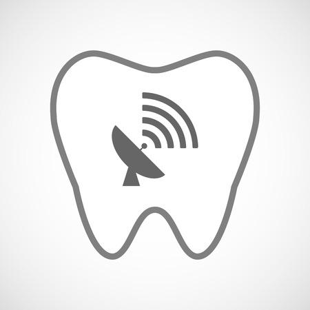 comunicacion oral: Ilustraci�n de un icono de dientes l�nea de arte con una antena parab�lica