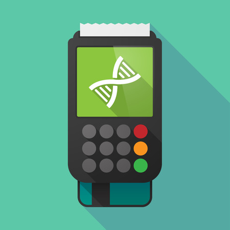 genetically: Illustration of a long shadow dataphone with a DNA sign Illustration