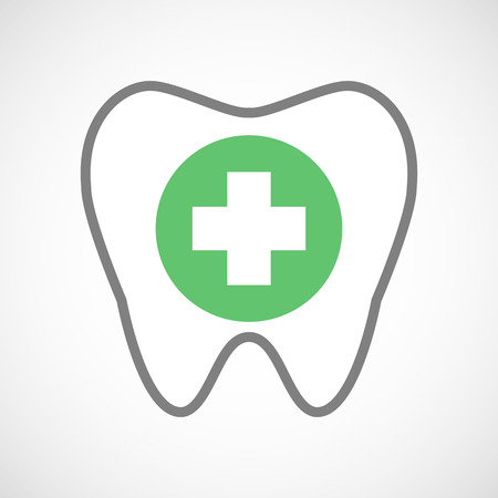 pharmacy sign: Illustration of a line art tooth icon with a round pharmacy sign