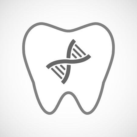 transgenic: Illustration of a line art tooth icon with a DNA sign Illustration