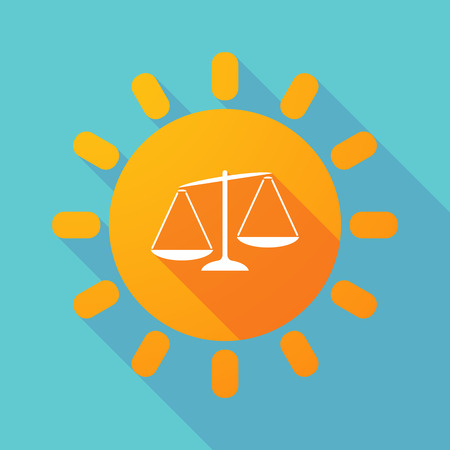 unbalanced: Illustration of a long shadow sun with  an unbalanced weight scale
