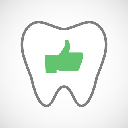 oral communication: Illustration of a line art tooth icon with a thumb up hand