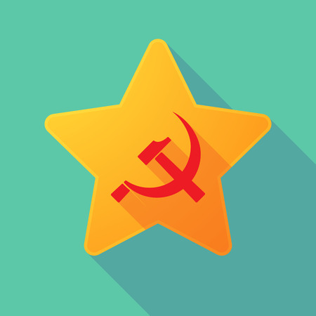 communist: Illustration of a long shadow star with  the communist symbol Illustration