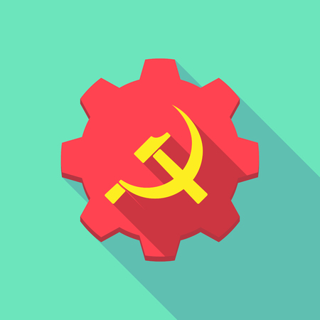 communist: Illustration of a long shadow gear icon with   the communist symbol