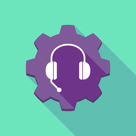 hands free phone: Illustration of a long shadow gear icon with  a hands free phone device Illustration