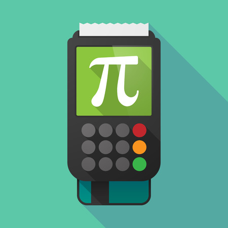 pi: Illustration of a long shadow dataphone with the number pi symbol Illustration
