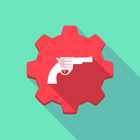 trigger: Illustration of a long shadow gear icon with  a gun
