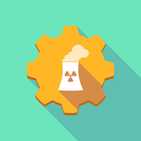 nuclear power station: Illustration of a long shadow gear icon with a nuclear power station