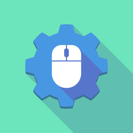 mechanical mouse: Illustration of a long shadow gear icon with a wireless mouse