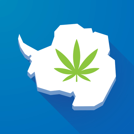 marihuana: Illustration of a long shadow map of Antarctica continent with a marijuana leaf Illustration