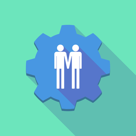 gay couple: Illustration of a long shadow gear icon with a gay couple pictogram Illustration