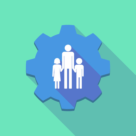 single family: Illustration of a long shadow gear icon with a male single parent family pictogram