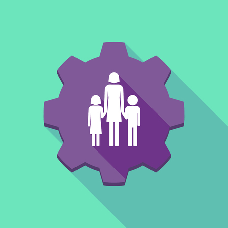 single family: Illustration of a long shadow gear icon with a female single parent family pictogram