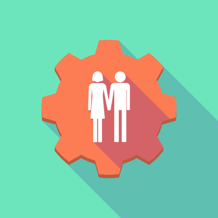 heterosexual: Illustration of a long shadow gear icon with a heterosexual couple pictogram Illustration
