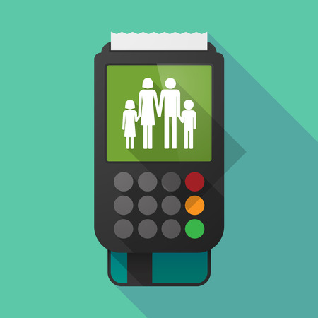 credit card business woman: Illustration of a long shadow dataphone with a conventional family pictogram