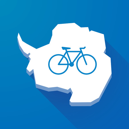 antarctica: Illustration of a long shadow map of Antarctica continent with a bicycle Illustration