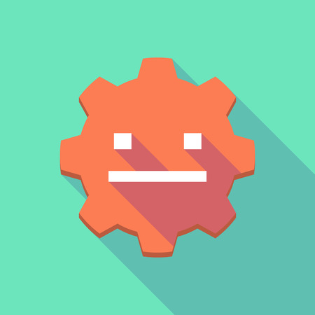 emotionless: Illustration of a long shadow gear icon with a emotionless text face Illustration
