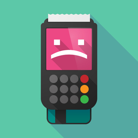 Illustration of a long shadow dataphone with a sad text face