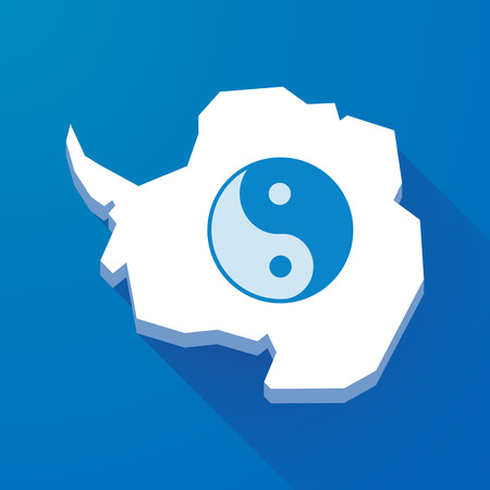 karma concept: Illustration of a long shadow map of Antarctica continent with a ying yang