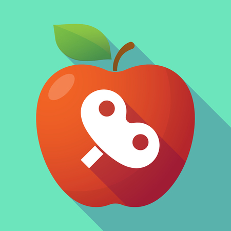 crank: Illustration of a long shadow red apple with a toy crank