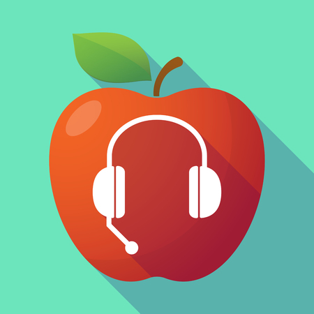 hands free device: Illustration of a long shadow red apple with  a hands free phone device Illustration