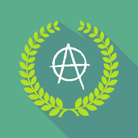 anarchy: Illustration of a long shadow laurel wreath icon with an anarchy sign