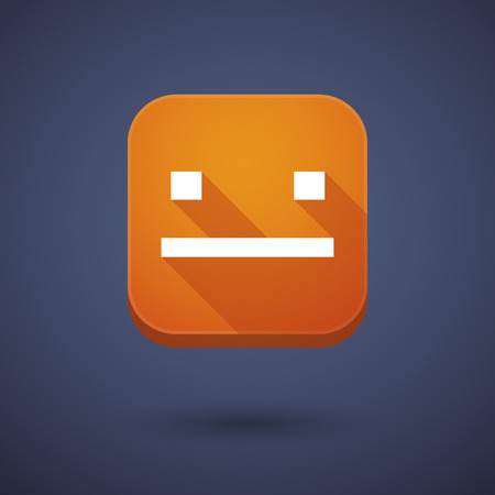 emotionless: Illustration of a square long shadow app button with a emotionless text face