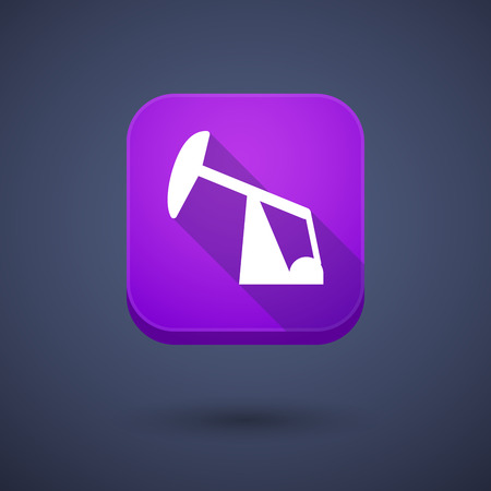 horsehead pump: Illustration of a square long shadow app button with a horsehead pump
