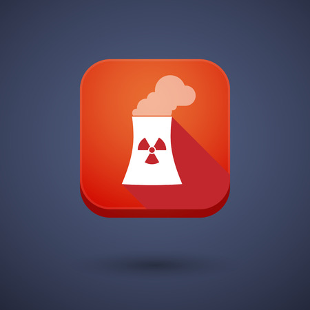 nuclear power station: Illustration of a square long shadow app button with a nuclear power station Illustration