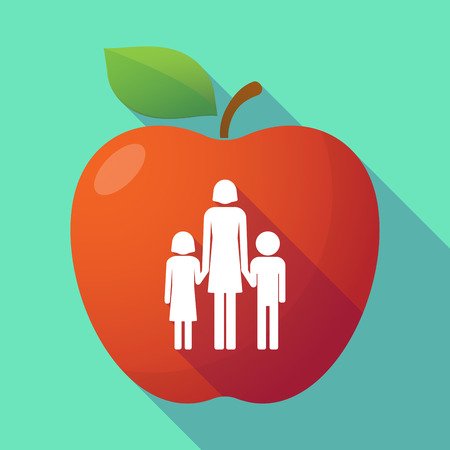 single parent family: Illustration of a long shadow red apple with a female single parent family pictogram Illustration