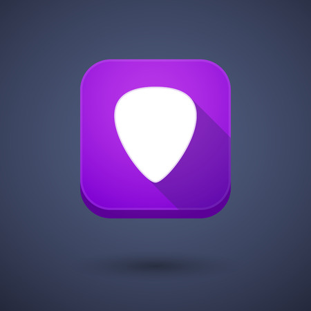 plectrum: Illustration of a square long shadow app button with a plectrum Illustration