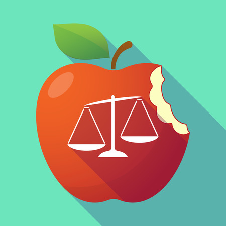injustice: Illustration of a long shadow red apple with  an unbalanced weight scale