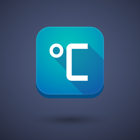 celsius: Illustration of a square long shadow app button with  a celsius degree sign Illustration
