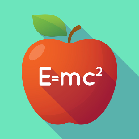 relativity: Illustration of a long shadow red apple with the Theory of Relativity formula