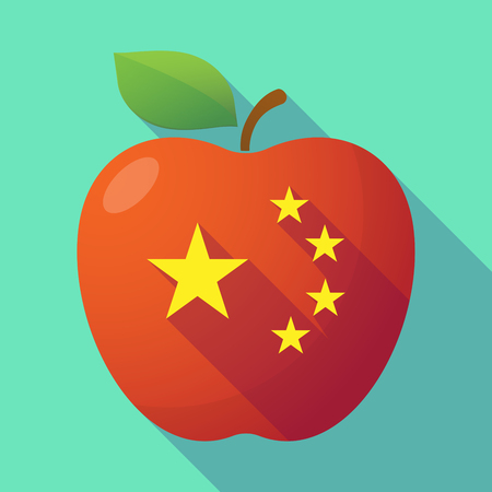 five stars: Illustration of a long shadow red apple with  the five stars china flag symbol