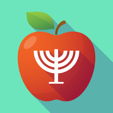 jews: Illustration of a long shadow red apple with a chandelier Illustration
